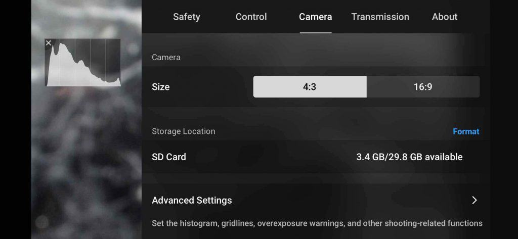 dji fly drone camera setting page