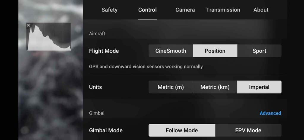 dji fly control setting page