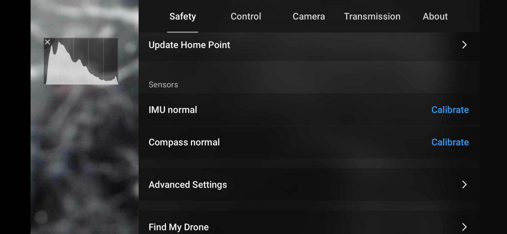 dji fly drone safety setting page