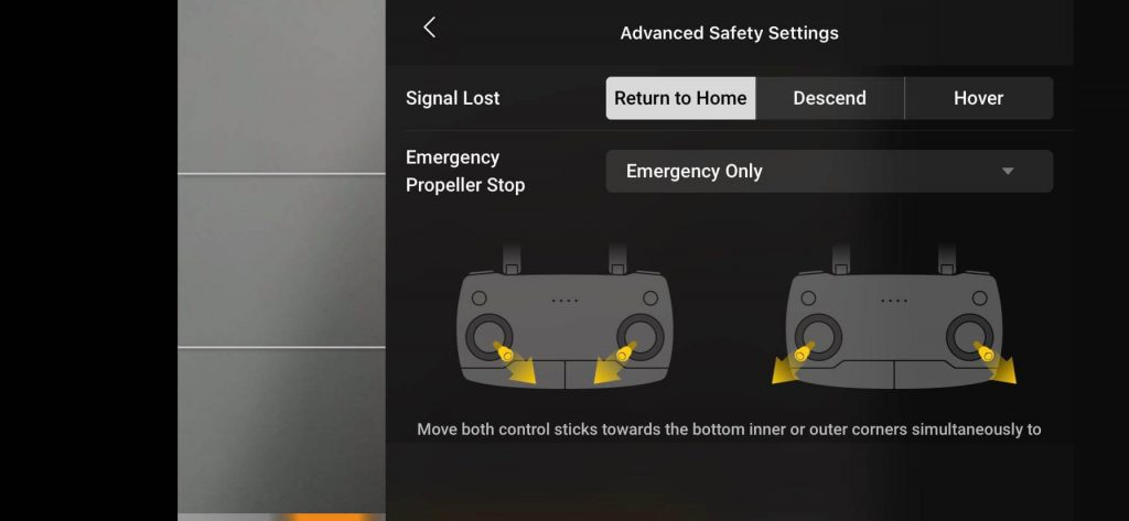 mavic air 2 safety settings on dji fly