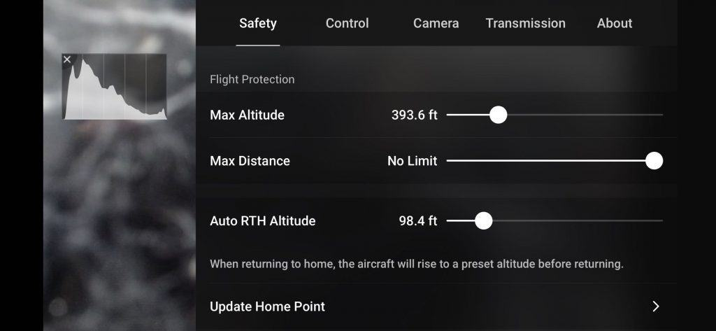 dji fly safety setting page