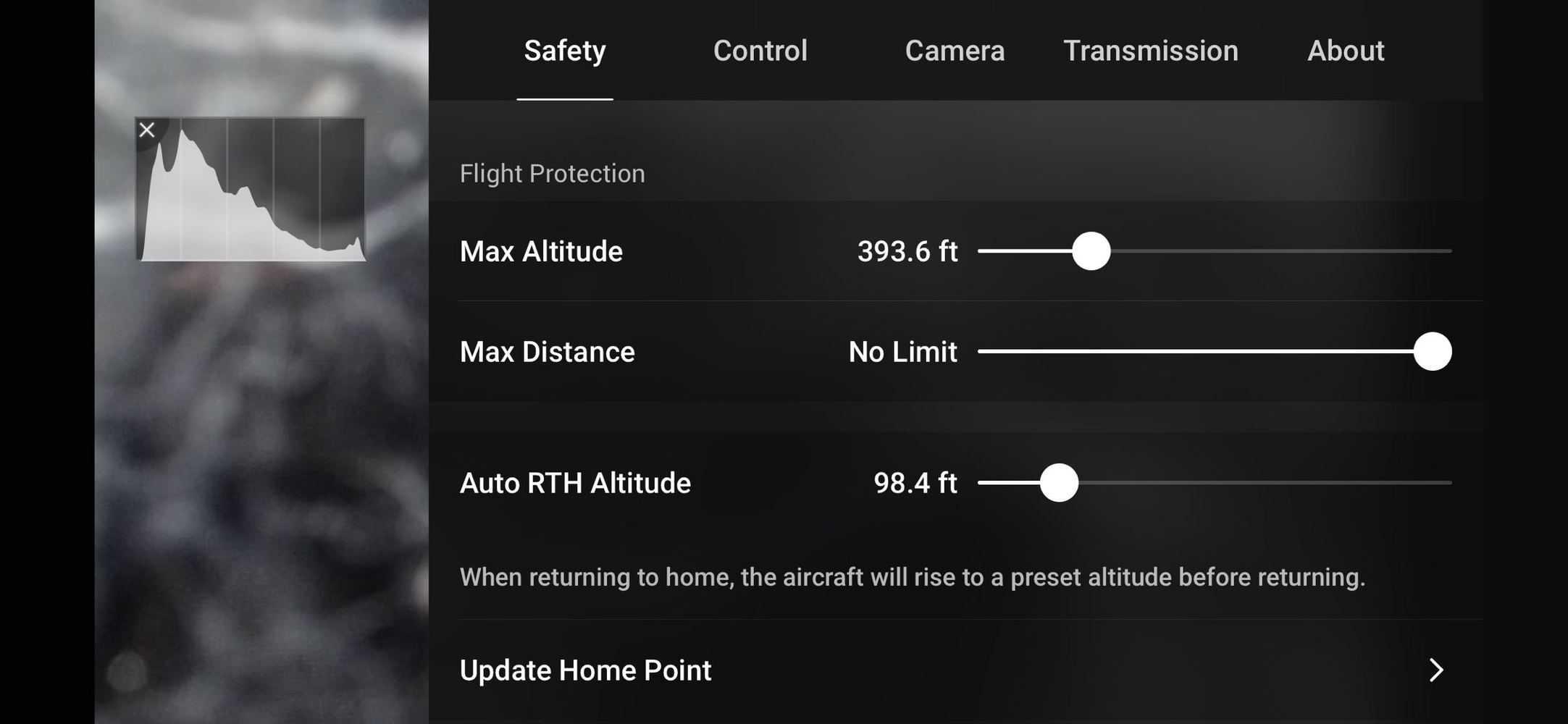 dji fly safety setting page